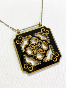 Chinese Tile Pendant Necklace - Black Acrylic