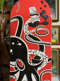 Octopus Skate Deck - Artist Remarqued, Black on Red