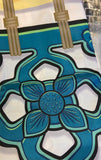 Chinese Tile Shower Curtain - Teal on White