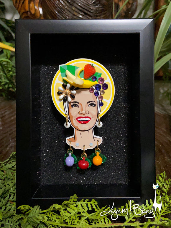 Collector's Carmen Miranda Brooch and Earrings - Lemon Halo Shadowbox on Black
