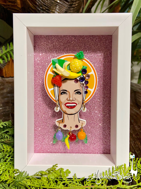 Collector's Carmen Miranda Brooch and Earrings - Orange Halo Shadowbox on Pink