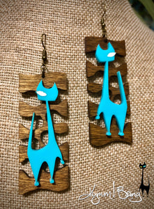 Mod Cat Earrings - Aqua on Wood