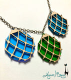 Japanese Fishing Float Necklace - Blue, Green, Turquoise