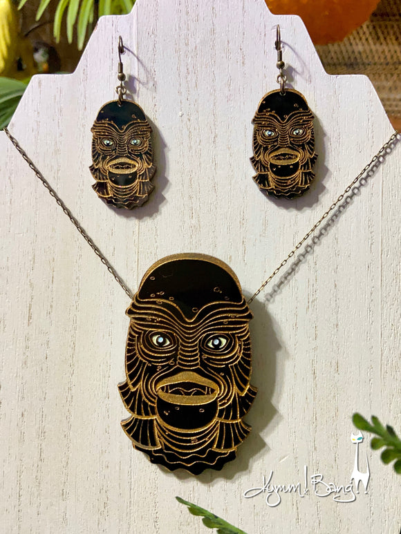 Creature #7 Large Gold Pendant and Earrings
