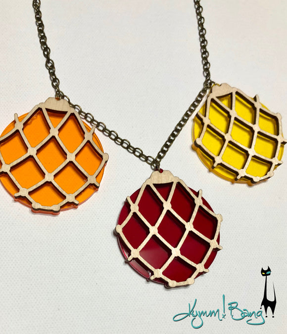 Japanese Fishing Float Necklace - Orange, Yellow, Red