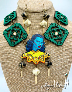 Turquoise Girl, Chinese Tile, Necklace and Lantern Earrings Set