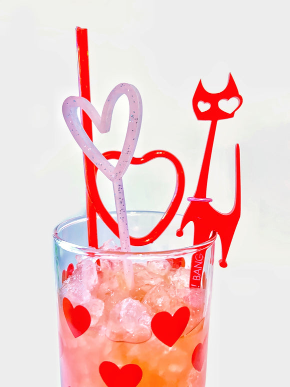 Valentine's Cat Swizzle Sticks
