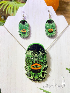 Creature #5 Large Green Pendant and Earrings