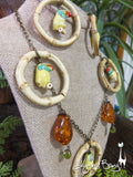 Royal Toucan Necklace and Earrings Set - 3