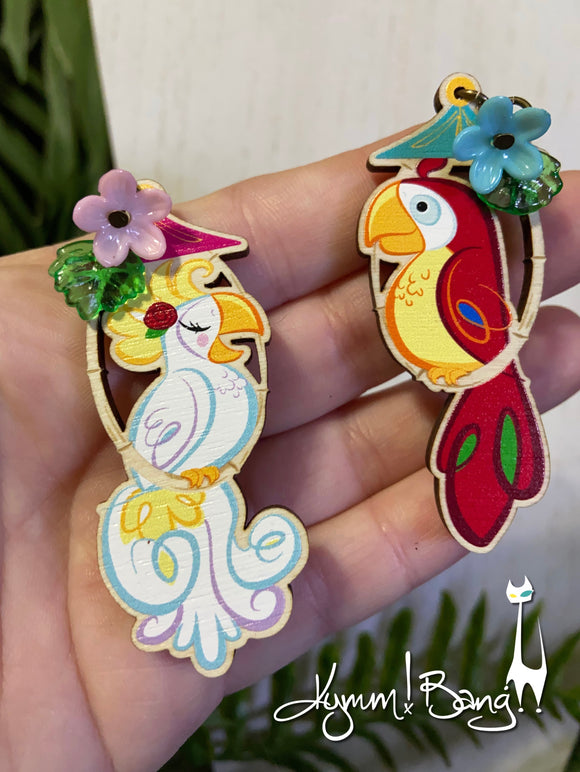 Tiki Birds- Earrings or Brooch Pairs