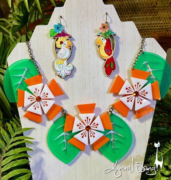 Aloha Blossom Necklace - Orange and White