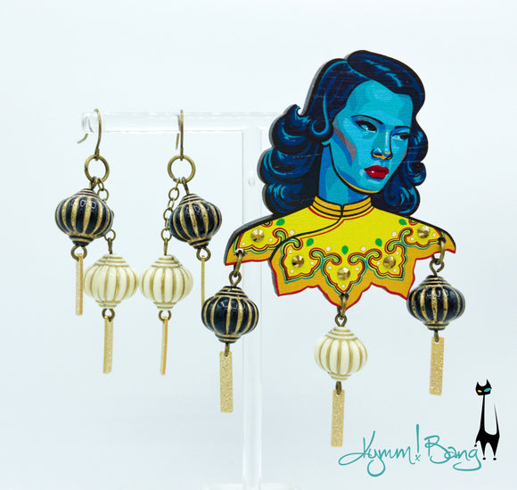 Turquoise Girl Brooch and Lantern Earrings Set