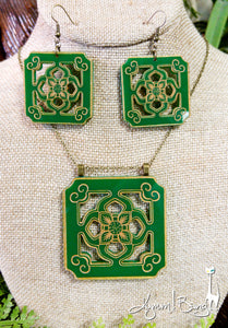 Chinese Tile Necklace and Earrings Set - Green Acrylic