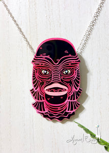 Creature #9 Large Pink Pendant Necklace