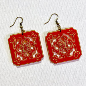 Chinese Tile Earrings - Red Acrylic