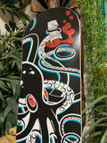 Octopus Skate Deck - Artist Remarqued, Black on Black