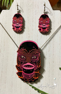 Creature #3 Large Pink Pendant and Earrings