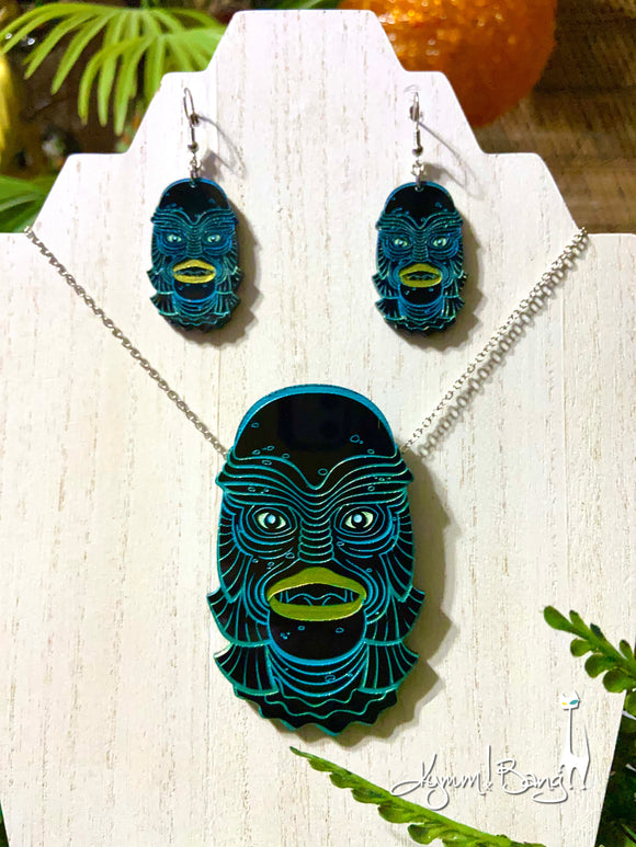 Creature #8 Large Turquoise Pendant and Earrings