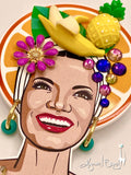 Collector's Carmen Miranda Brooch and Earrings - Orange Halo Shadowbox on Magenta