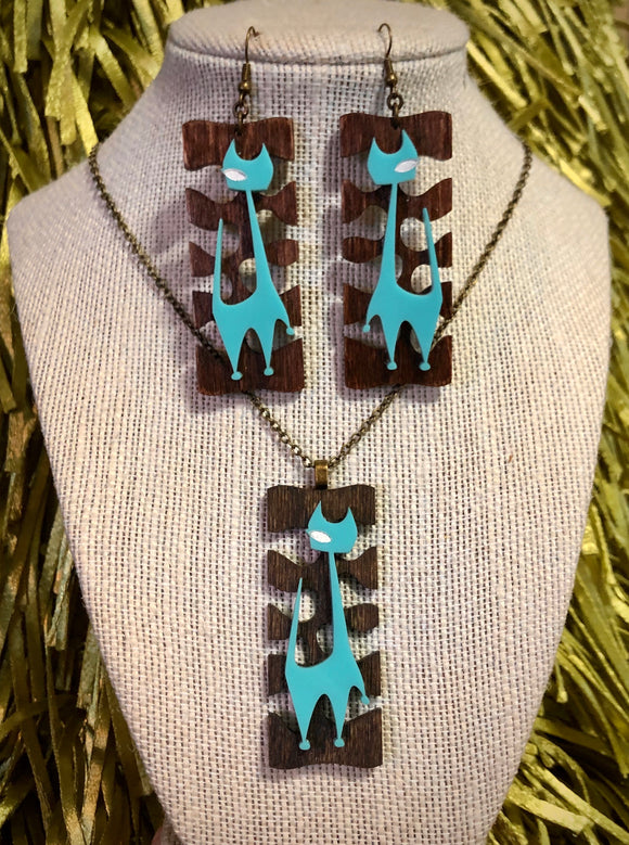 Mod Cat Pendant Necklace and Earrings Set - Aqua on Wood