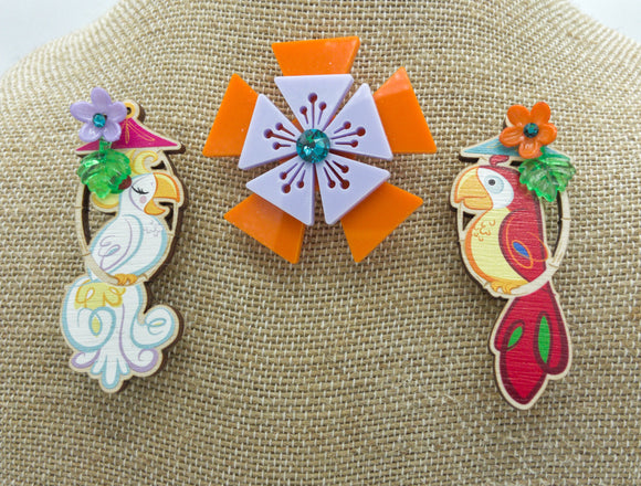 Tiki Room Birds and Aloha Blossom Brooch Cluster