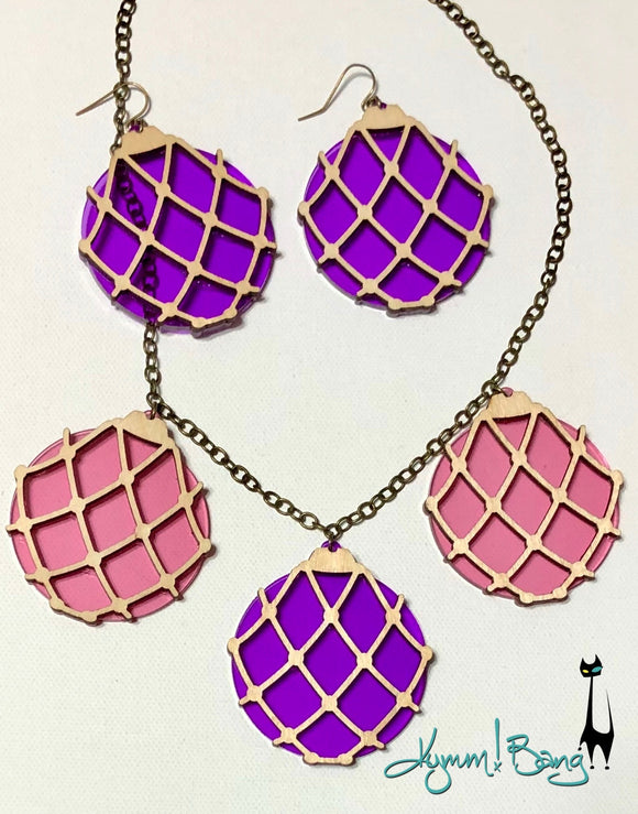 Japanese Fishing Float Necklace - Pink and Purple
