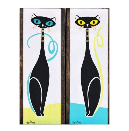 Atomic Cats - Turquoise and Yellow Gravel Art Pair