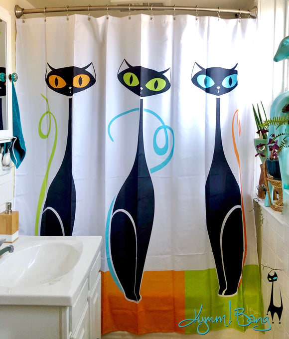 Mod Cat Trio Shower Curtain - Turquoise, Orange, Lime