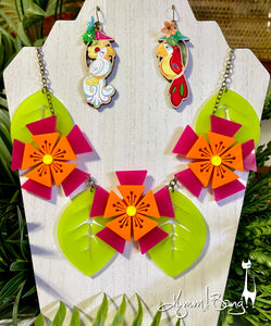 Aloha Blossom Necklace - Magenta and Orange