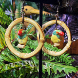 Royal Toucan Bamboo Hoop Earrings