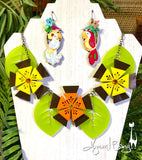 Aloha Blossom Necklace - Brown, Orange, Yellow