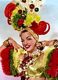 Collector's Carmen Miranda Brooch and Earrings - Lime Halo Shadowbox on Turquoise