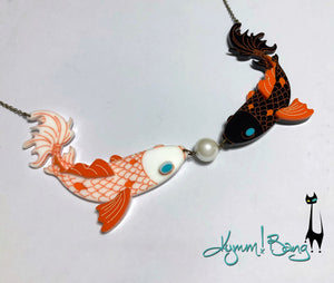 Koi Kiss Necklace and Pearl Earrings