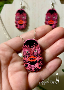 Creature #2 Small Pink Pendant and Earrings