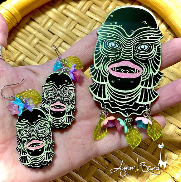 Creature with Flowers - Pastel on Black, Brooch and Earrings Set