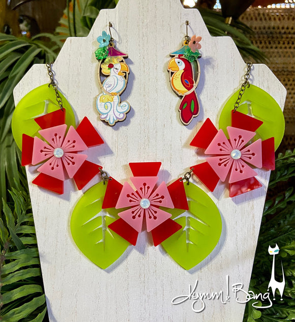 Aloha Blossom Necklace - Red and Pink