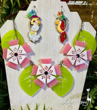 Aloha Blossom Necklace - Light Pink and White