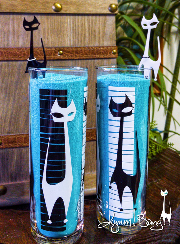 Black and White Cats Zombie Cocktail Glass and Swizzles