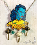 Turquoise Girl Necklace and Lantern Earrings Set - 3