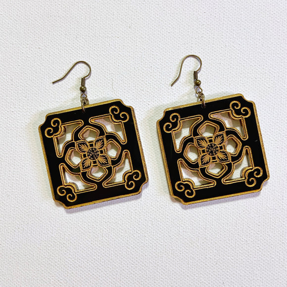 Chinese Tile Earrings - Black Acrylic