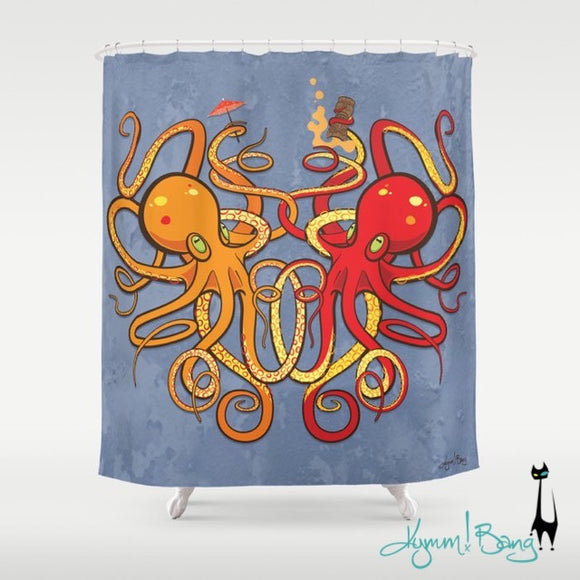Octopus Shower Curtain - Orange and Red