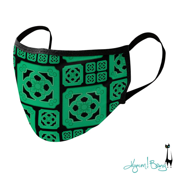 Chinese Tile, Green on Black Face Mask available via Threadless