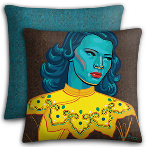 Turquoise Girl Premium Stuffed Pillow
