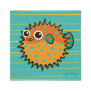 Puffer Fish - Orange on Turquoise, Premium Pillow Cover