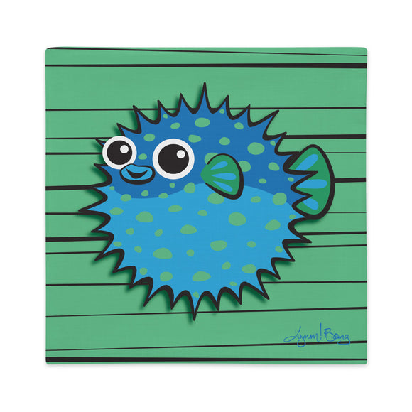 Puffer Fish - Blue on Green, Premium Pillow Cover