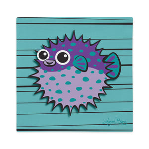 Puffer Fish - Purple on Turquoise, Premium Pillow Cover
