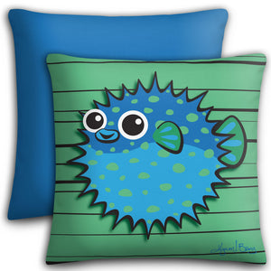 Puffer Fish - Blue on Green, Premium Stuffed Pillow