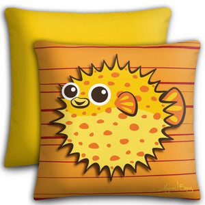 Puffer Fish - Yellow on Ornge, Premium Stuffed Pillow