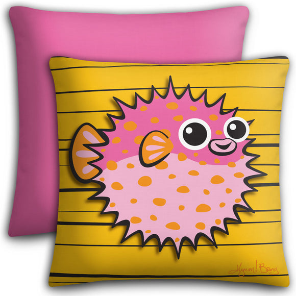 Puffer Fish - Pink on Tangerine, Premium Stuffed Pillow