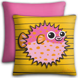 Puffer Fish - Pink on Orange, Premium Pillow Cover